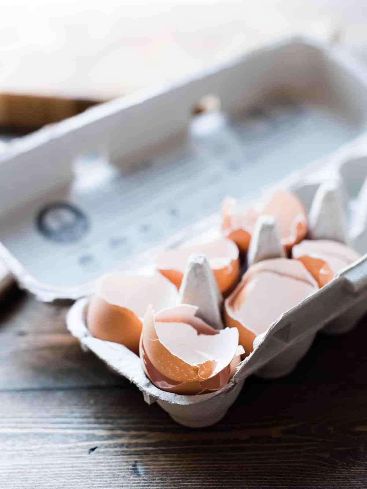 Cracked eggshells in a paper carton.