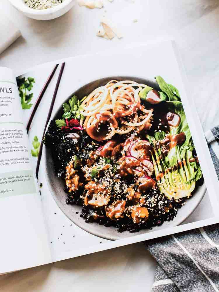 Example of recipes in Nourishing Superfood Bowls by Lindsay Cotter.