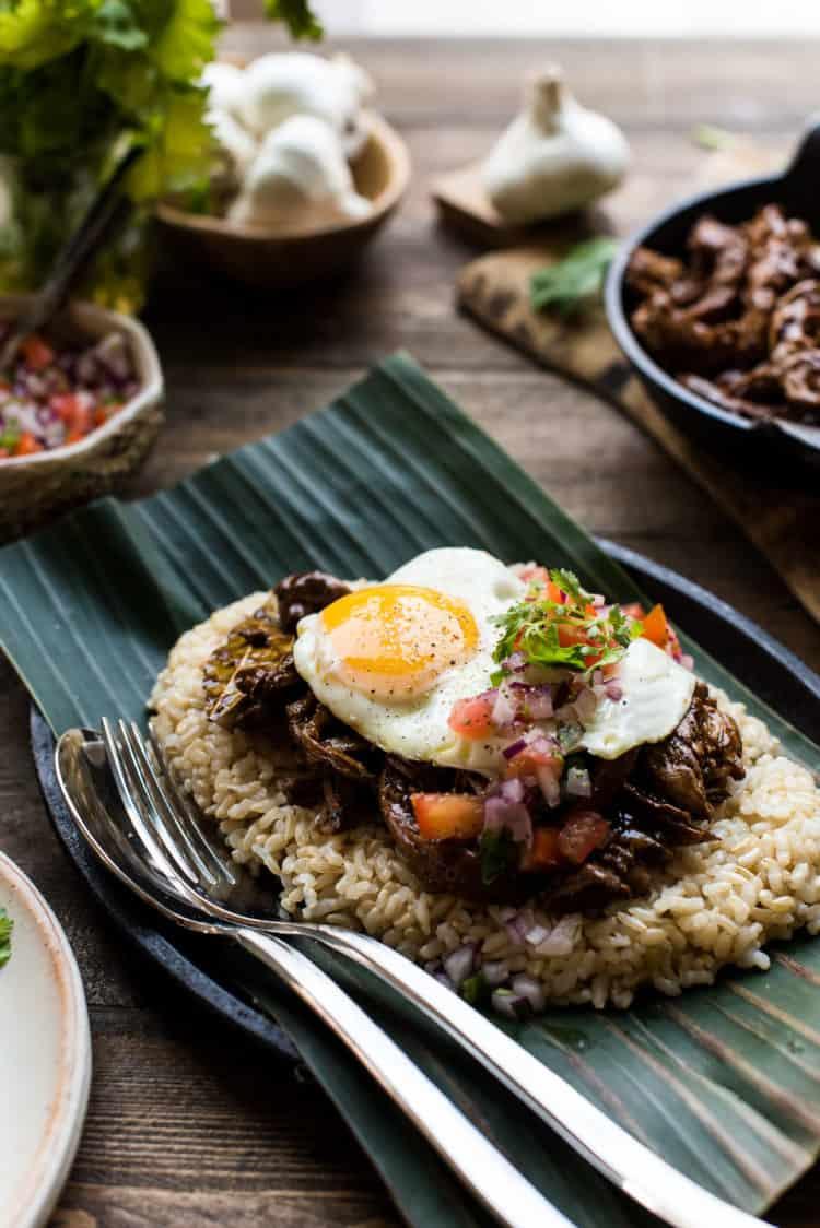 Adobo Loco Moco on a rice.