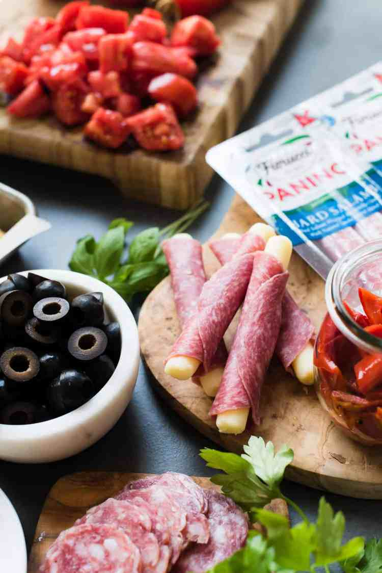 Fiorucci Foods Hard Salami and Mozzarella Paninos for Muffuletta Panzanella
