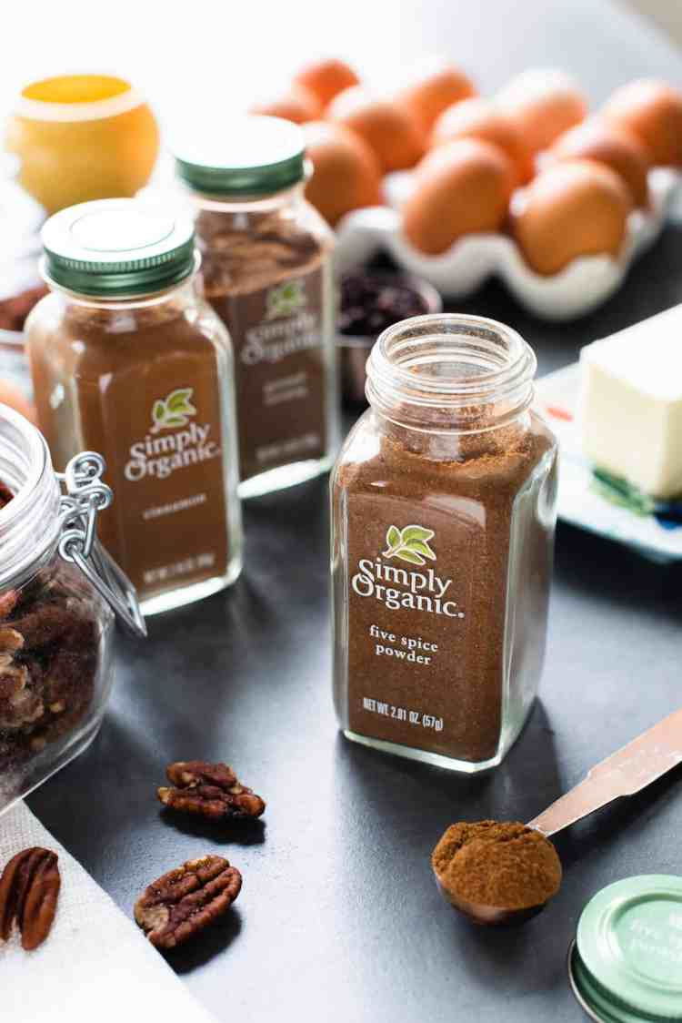 Simply Organic five spice powder with ingredients for Five Spice Chocolate Tea Bread.
