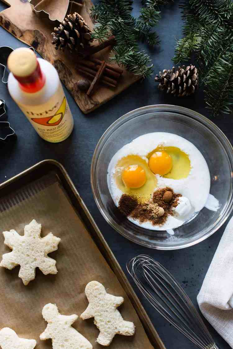 Ingredients for Gingerbread French Toast in a bowl.