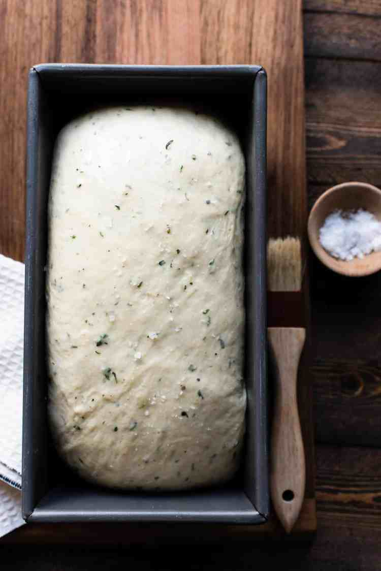 Savory Herb Stuffing Bread loaf ready for the oven.