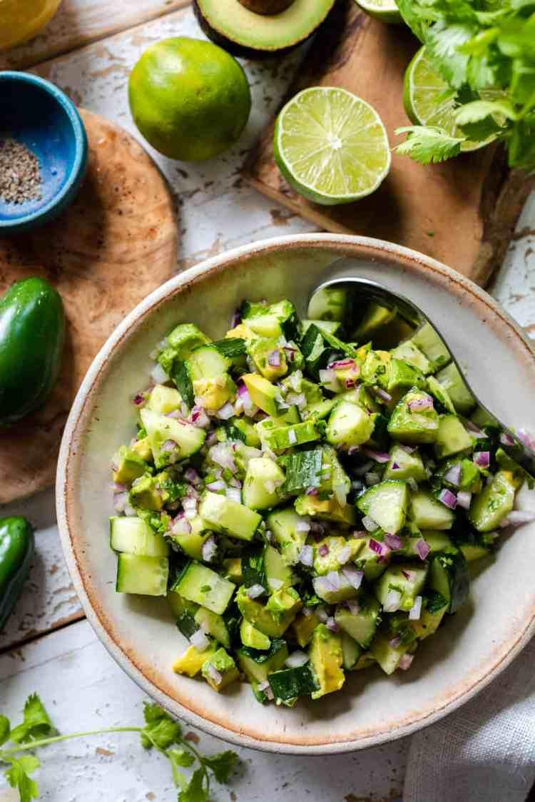 Avocado Cucumber Salad in bowl.