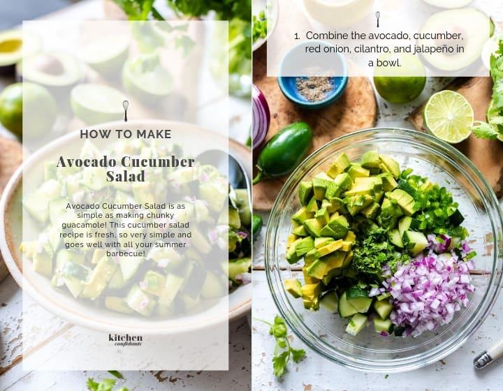 Step 1 of how to make Avocado Cucumber Salad.