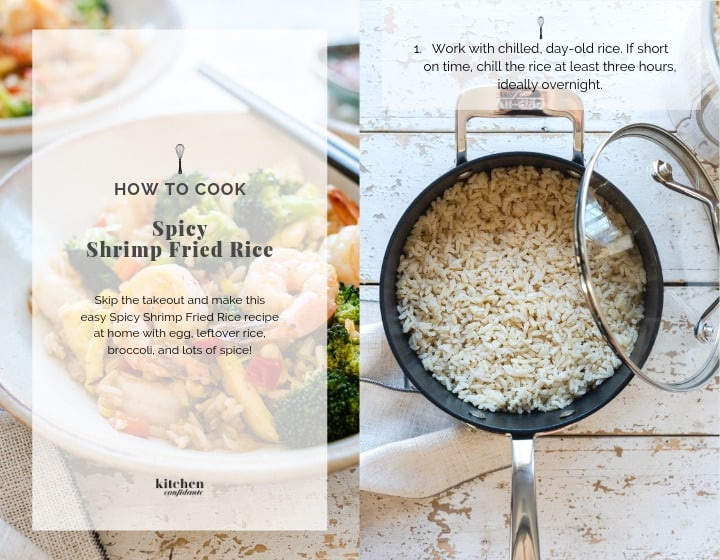 Step by step instructions for How to Make Spicy Shrimp Fried Rice.