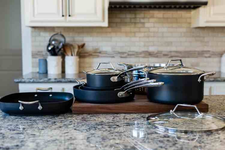 All-Clad Essentials Nonstick Cookware in a kitchen.
