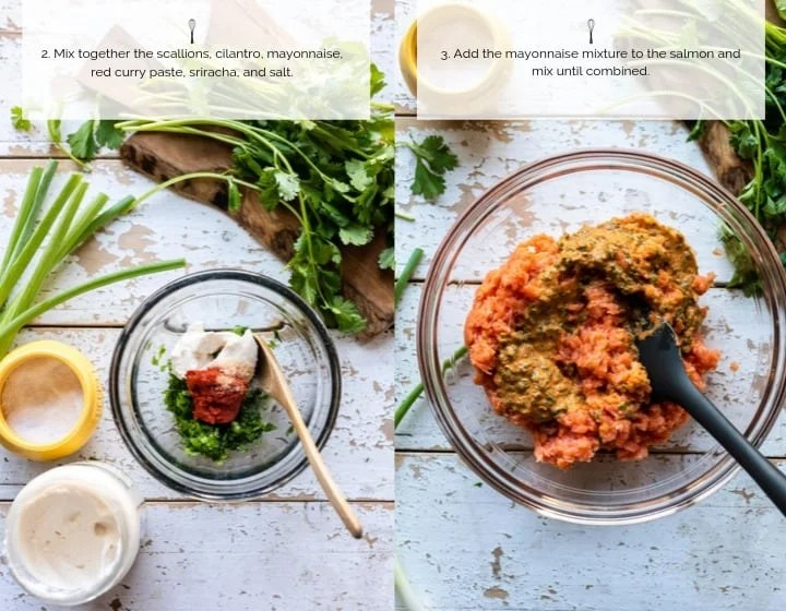 Step by step instructions for how to make Thai Salmon Burgers.
