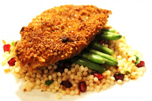 Za'atar Crusted Chicken with Pomegranate Cous Cous