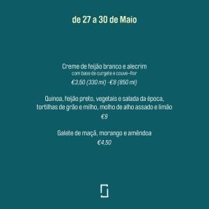 Kitchen Dates – menu 27 a 30 de Maio