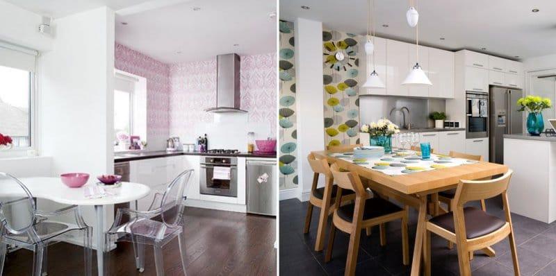 дизайн обоев для кухни комбинированные 2 видов фото 6