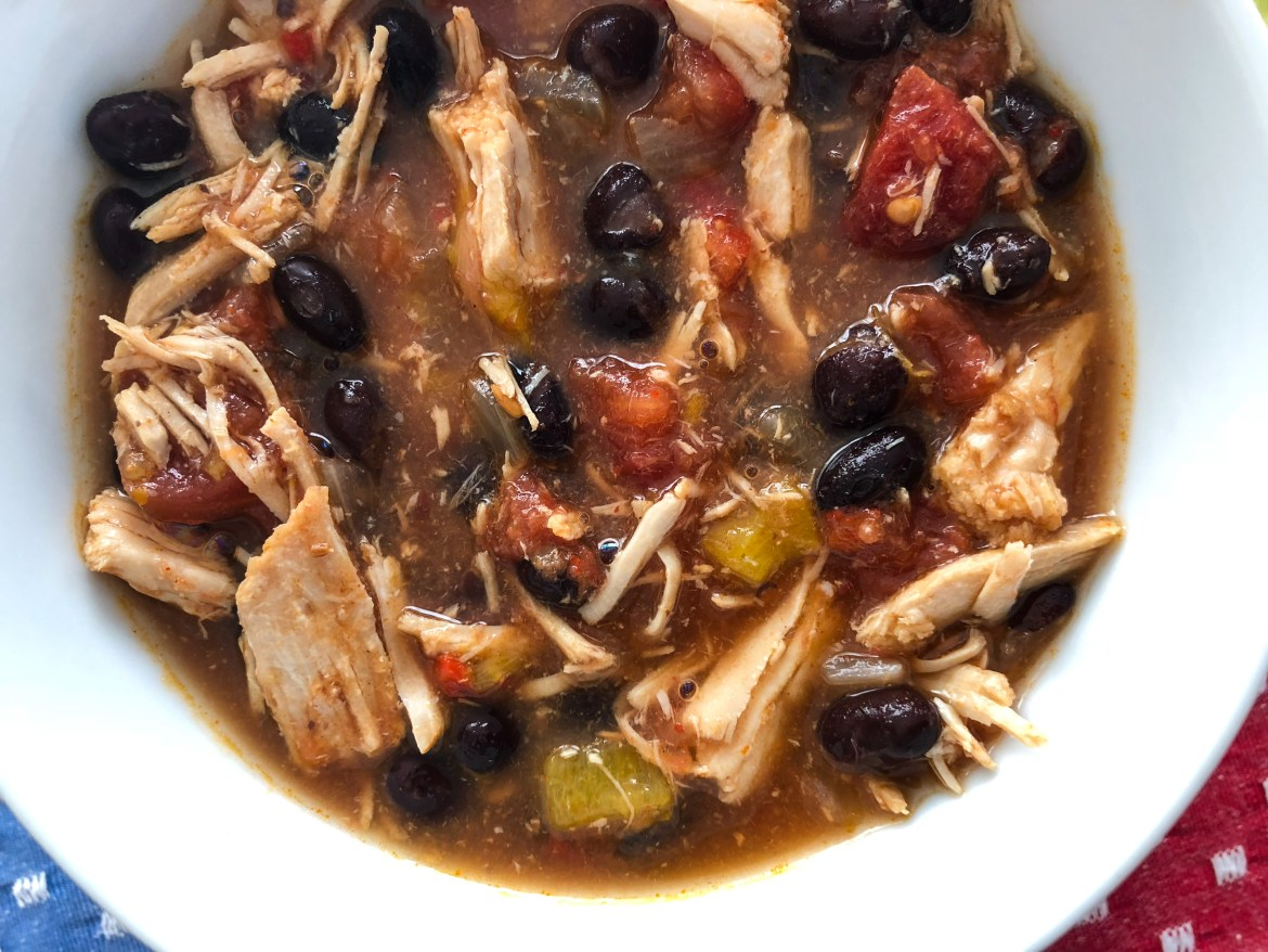 Slow cooker Chicken Tortilla Soup no toppings