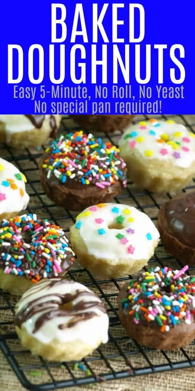 mini doughnuts covered in frosting and sprinkles on a cooling rack.