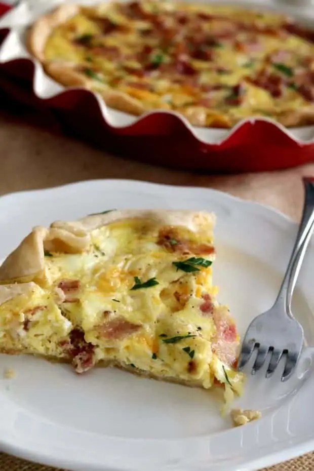 Quiche Lorraine may sound fancy but it is just a French name for Bacon Quiche.