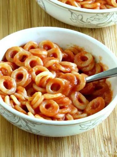 A bowl of homemade spaghettios.