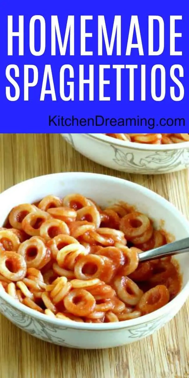 A pinnable Pinterest image of Homemade Spaghettios.