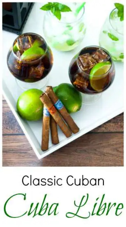two glasses of cuba libre on a tray with some havana honey cigars
