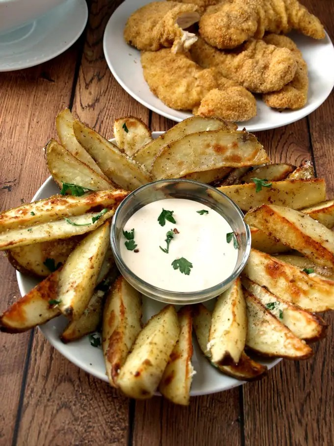 A plate of Roasted Parmesan Ranch Potatoes