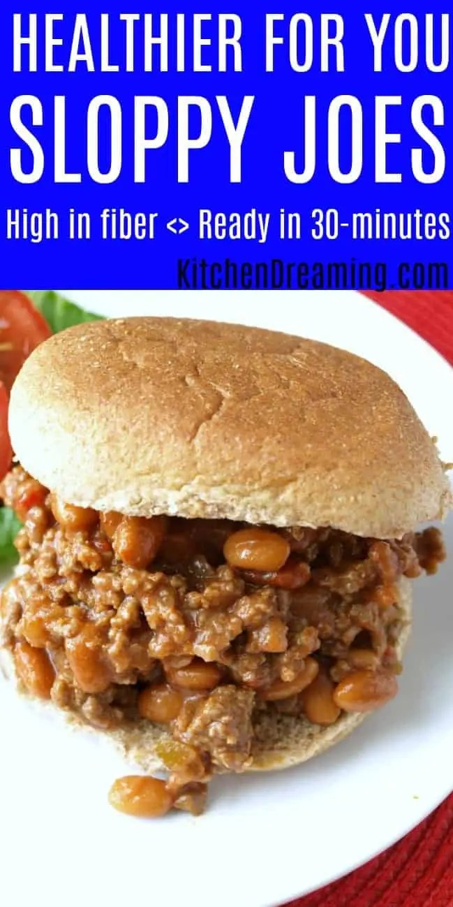 Pinnable image of a close up photo of a sloppy joe with beans