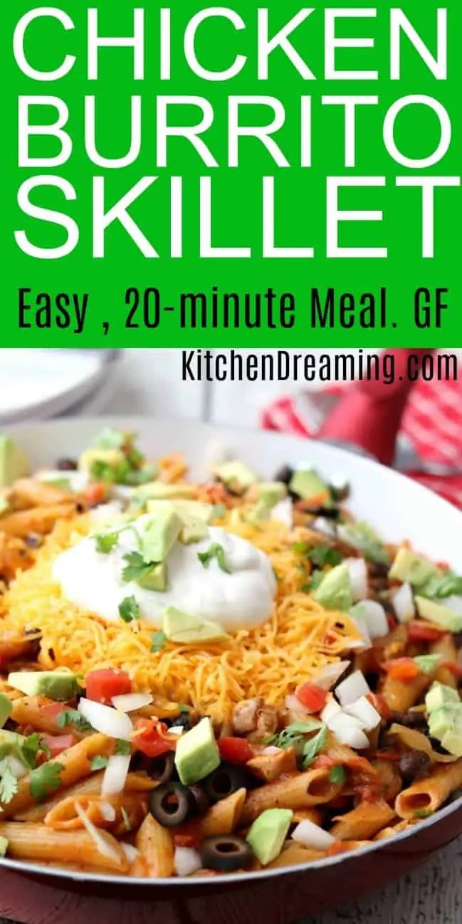 Pinterest Long Pin Showing Chicken Burrito Skillet Easy 20-Minute Meal