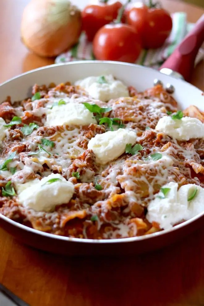 A pan of skillet lasagna