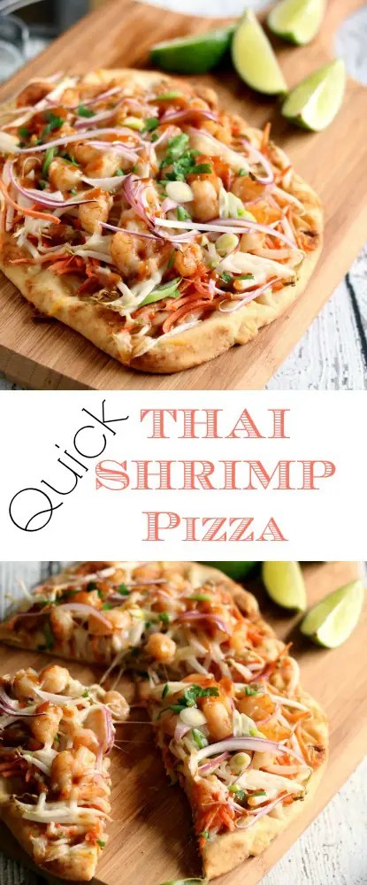 Thai Shrimp pizza is spicy, saucy and delicious and hits on all the traditional flavor notes of a Thai Shrimp dinner in a delicious Thai fusion pizza.