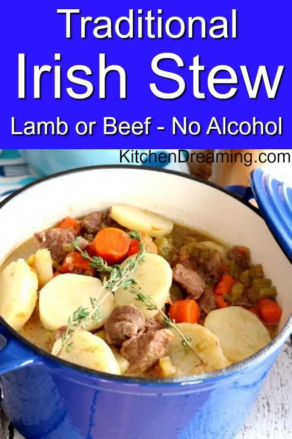 A pinnable pinterest image for Traditional Irish Stew