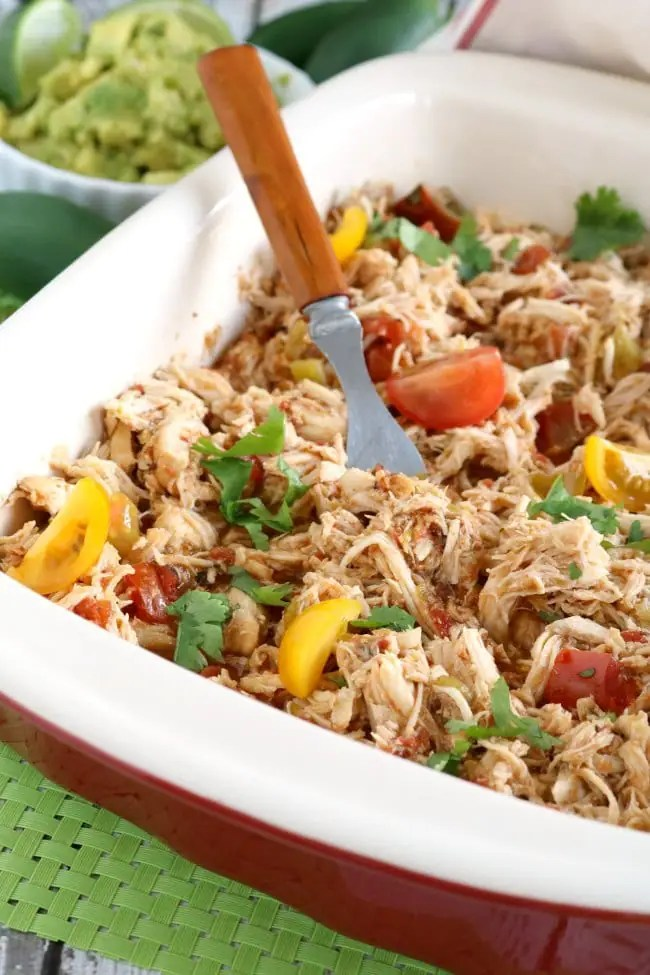Crock Pot Shredded Mexican Chicken is EASY to use in so MANY recipes. SCORE!