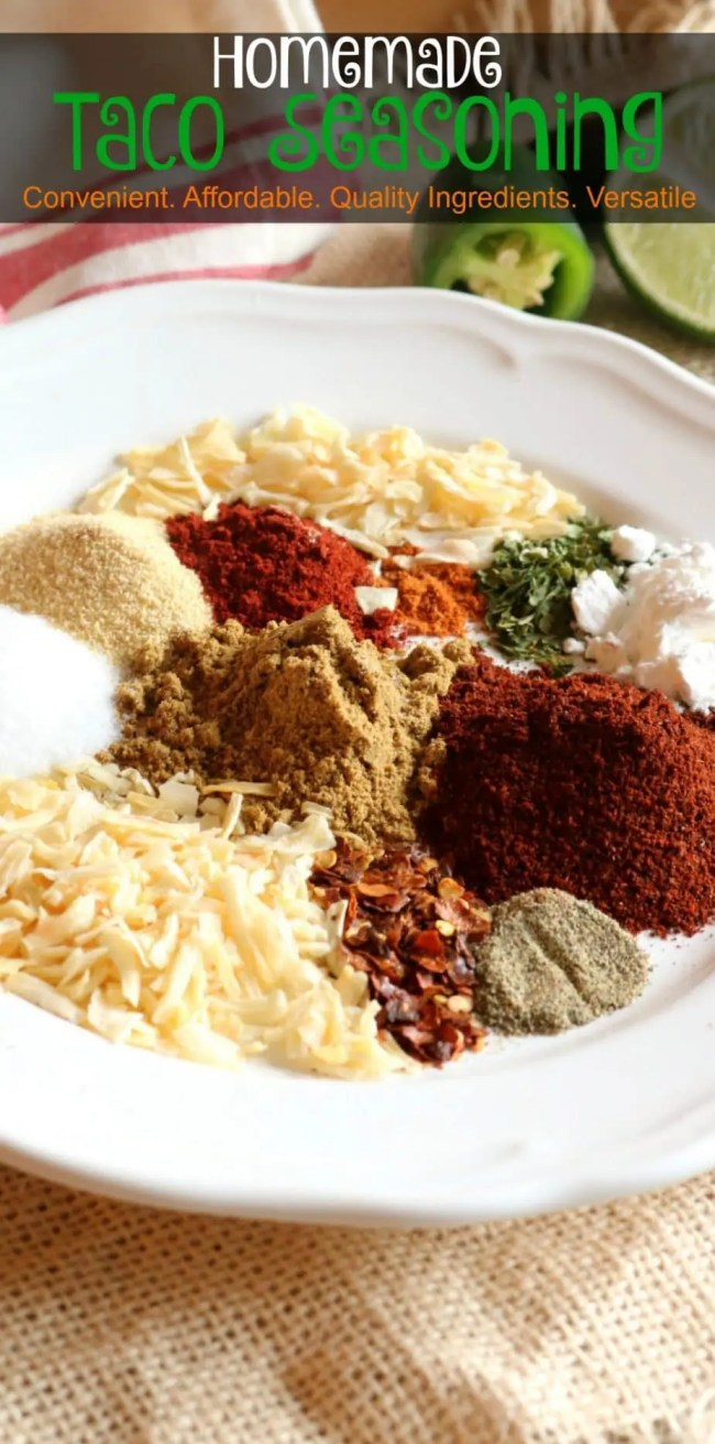 Making Homemade Taco Seasoning is easy and affordable. It costs just pennies to prepare using simple pantry ingredients as compared to the leading national brands. The homemade mix contains no MSG, artificial colors or flavorings and no anti-caking agents used in the pre-packaged varieties.