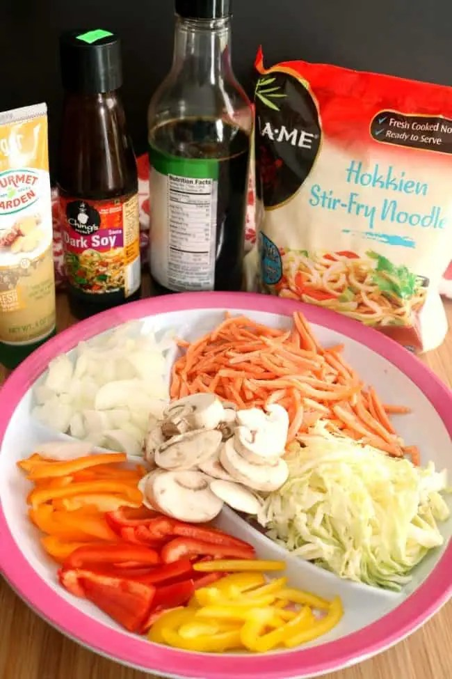 The main ingredients in lo mein: dark soy, ginger paste, noodles, low sodiul soy sauce and vegetables.