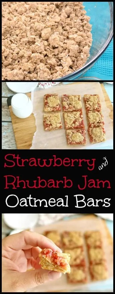 These Strawberry Rhubarb Oatmeal Bars are simple and delicious. Can you believe they are ready in about 30-minutes and use ingredients already in your pantry?!
