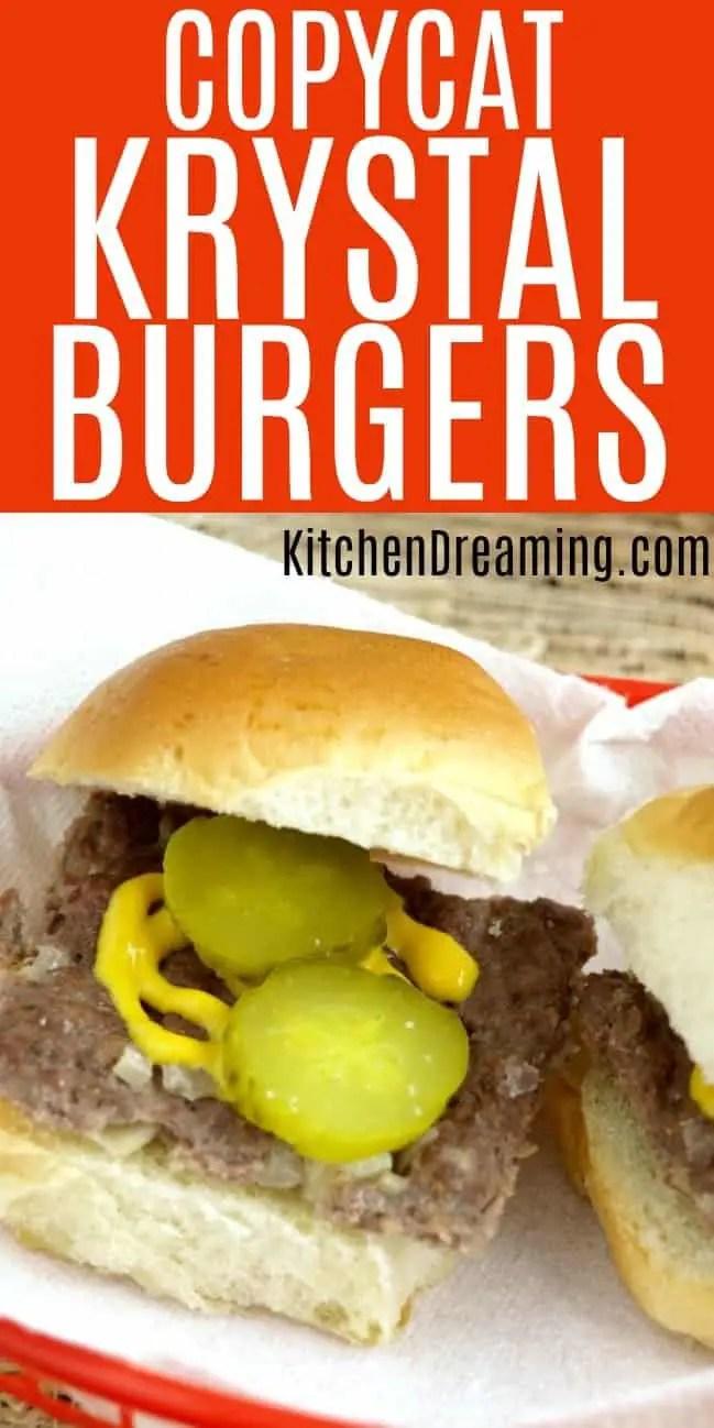 a pinnable image of copycat krystal burgers.