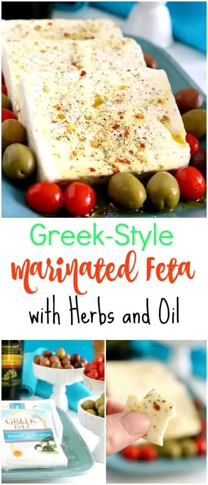 Traditional marinated feta comes soaked in olive oil. The problem is this is costly and often it's hard to get the feta flavor through all that oil. Preparing it myself, I can cut the cost by 2/3, and have a fresh tasting platter my guests truly enjoy.