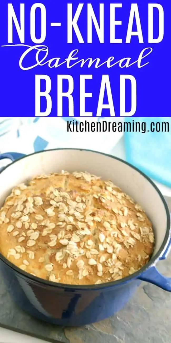 a loaf of finished no-knead oatmeal bread