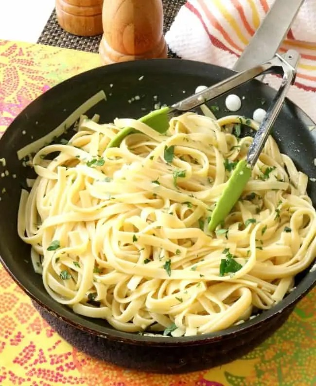 Pasta tossed in lemon garlic pan sauce.