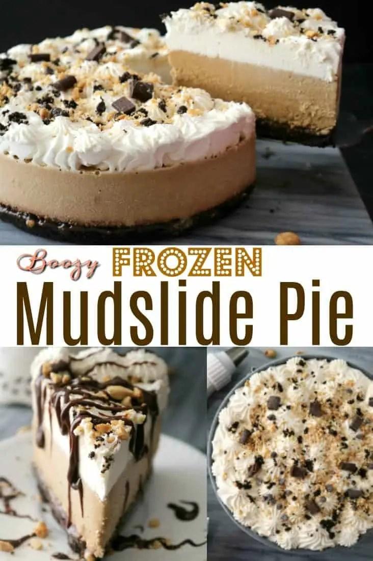 a pinnable Pinterest image of Frozen Mudslide Pie.
