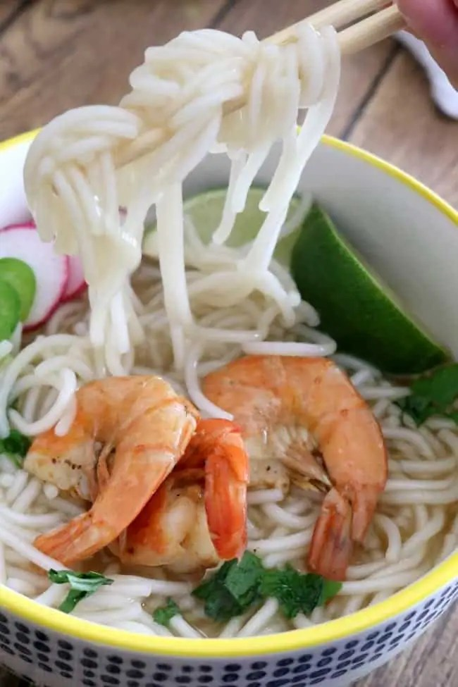 an image of shrimp pho with pasta maker asian rice noodles