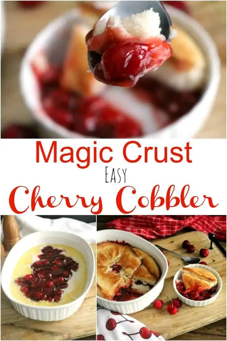 a pinnable image of easy cherry cobbler