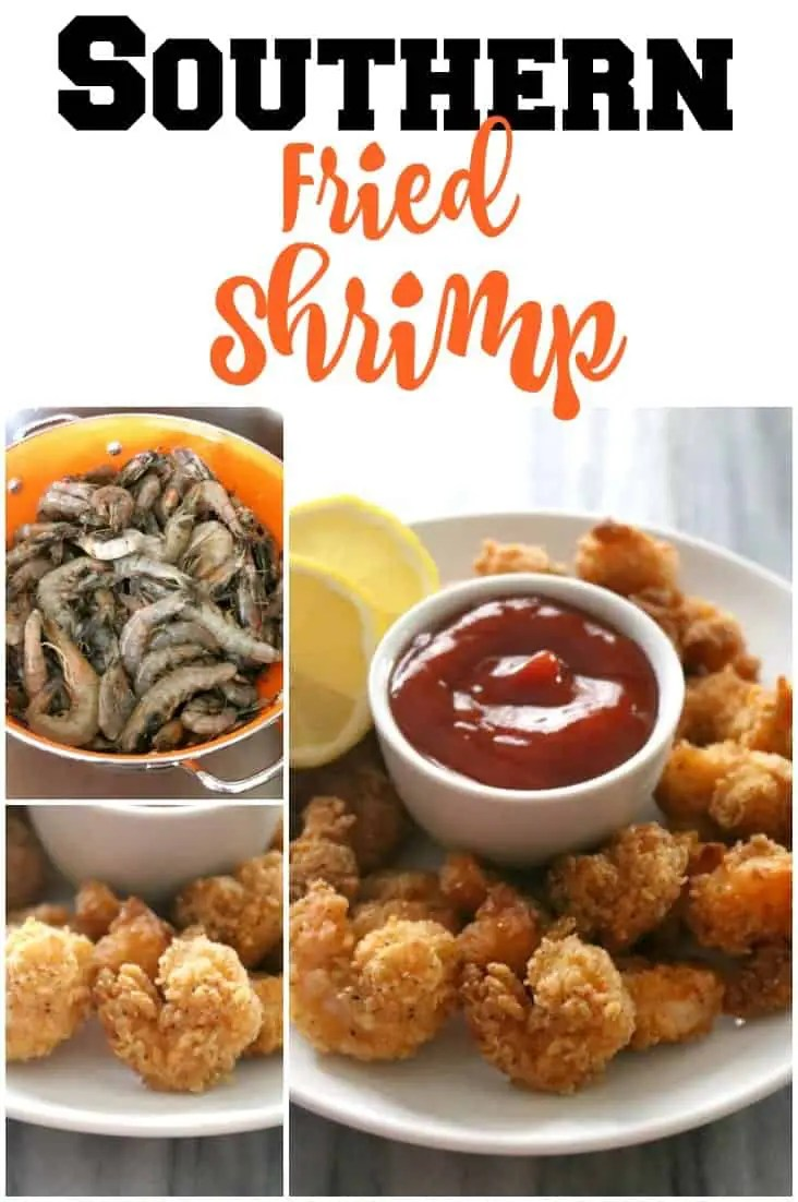 a pinnable image of Southern Fried Shrimp.