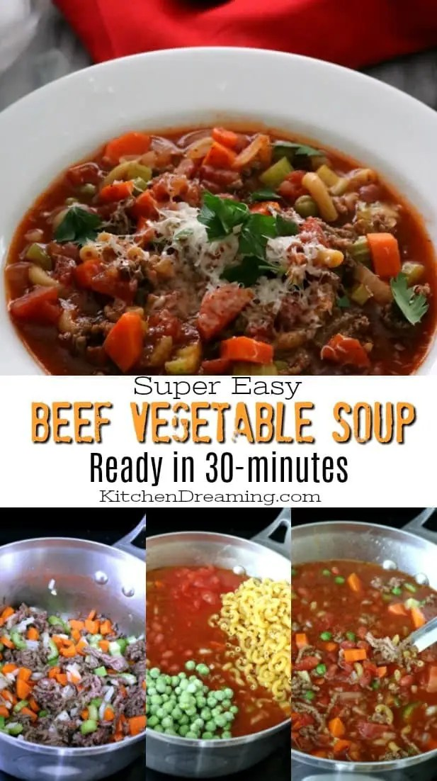 This hearty Easy Beef Vegetable Soup is the ultimate comfort food. It tastes like it was simmered on the stove for hours but is ready in just 30-minutes. Ground beef is simmered with macaroni noodles, peas, carrots, onions, celery and beans in tomato-vegetable juice cocktail to create this quick and easy soup.
