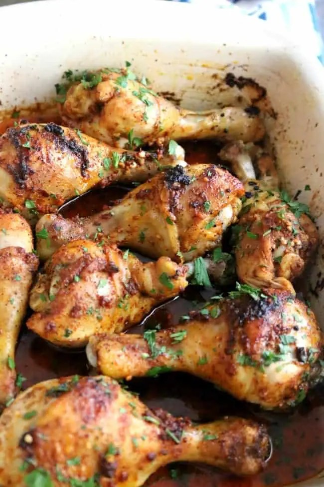 Cooked garlic-paprika chicken in a casserole pan