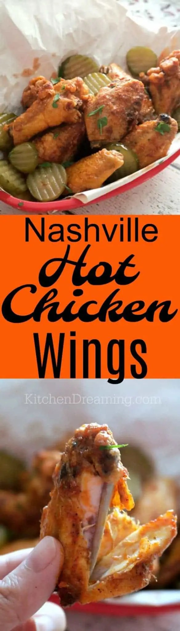 A pinnable pinterest image for Nashville hot fried chicken wings.