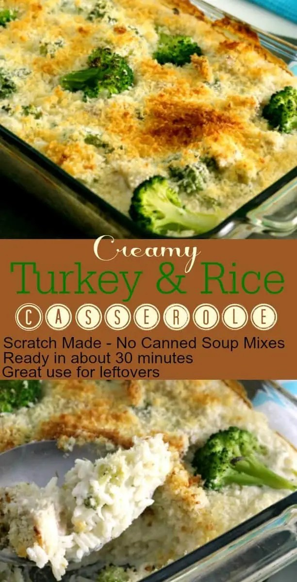 This Creamy Turkey Rice Casserole is real food meets comfort food. Made from scratch without MSG, prepackaged sauces, or cream of anything soups, this dish is quick and easy and uses up that pesky leftover Turkey and maybe even some vegetables if you still have them laying around.