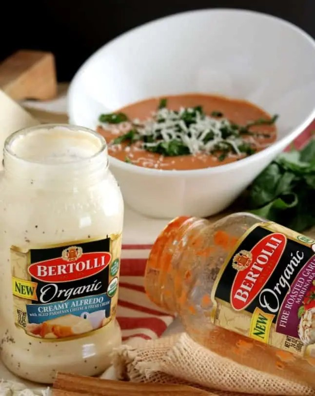 New Bertolli Organic Sauces - Fire Roasted Garlic Marinara and Organic Creamy alfredo combine to create a Rosa Sauce.