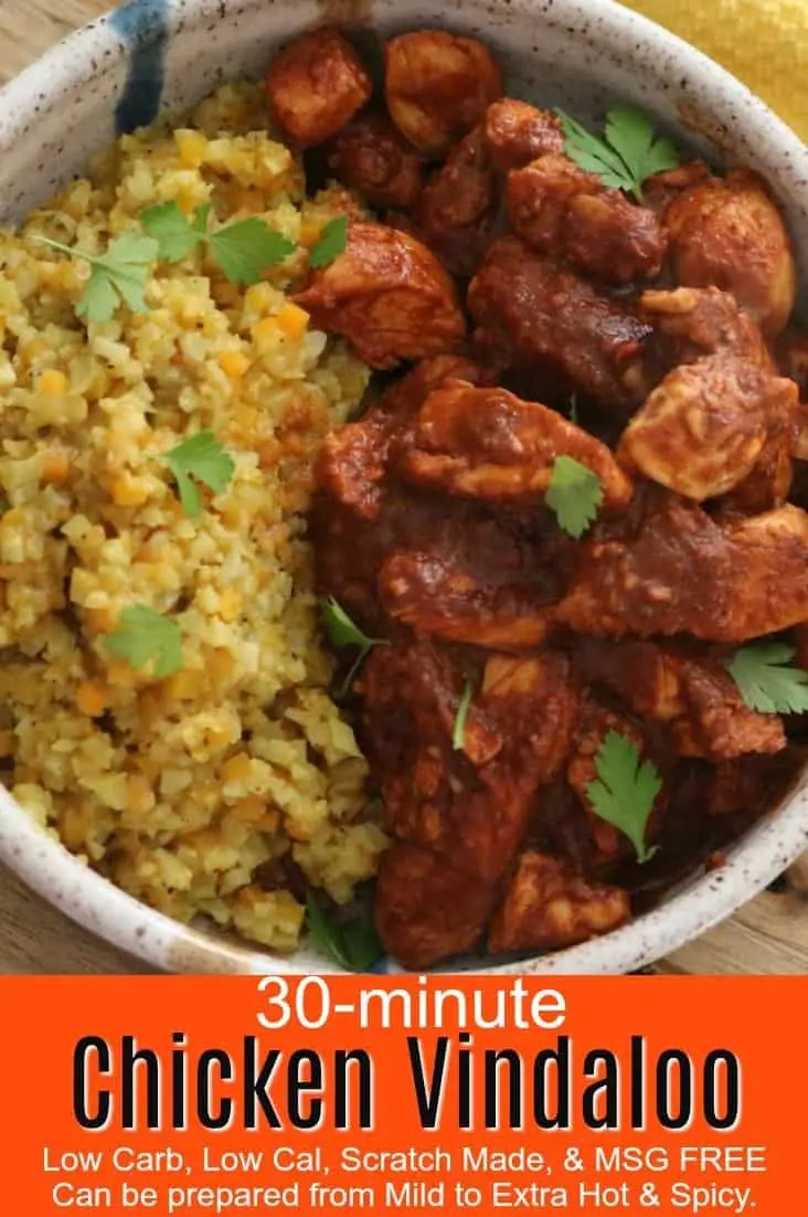 A bowl of chicken vindaloo with cauliflower rice