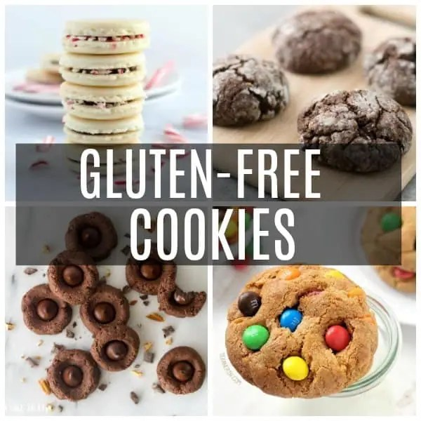 a collage of gluten-free cookies including M&M, thumbprint, macarons, and chocolate crinkle.