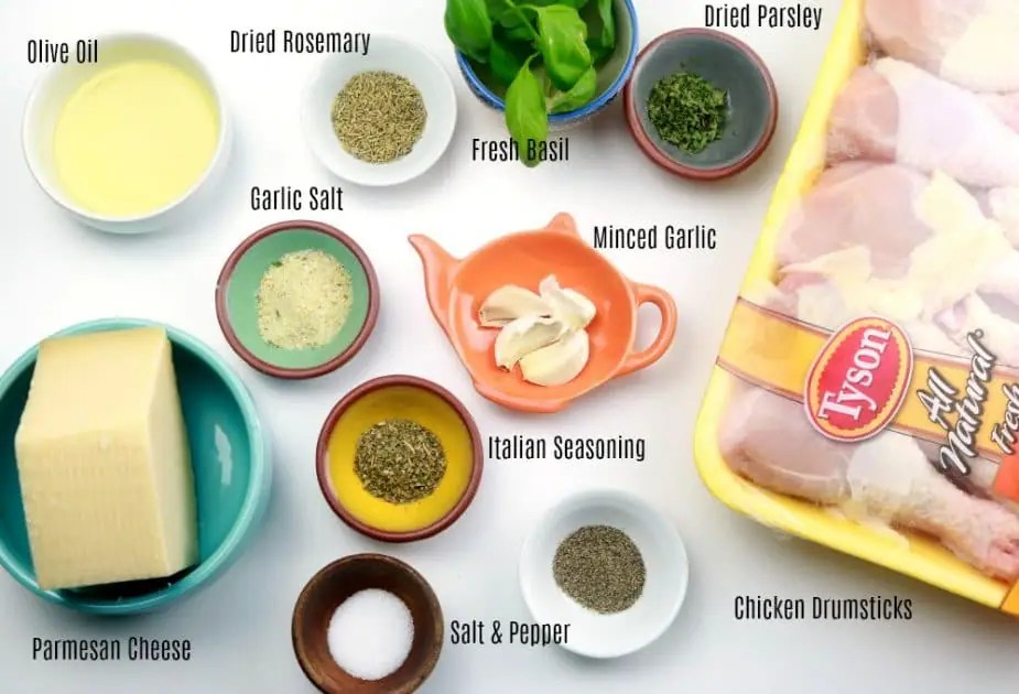 A photo of the ingredients for garlic-parmesan chicken