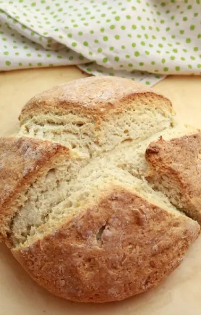 A loaf of freshly baked Irish soda bread - golden brown and delicious.