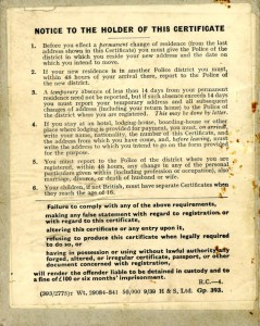 Werner Weissenberg Certificate of Enemy Alien registration