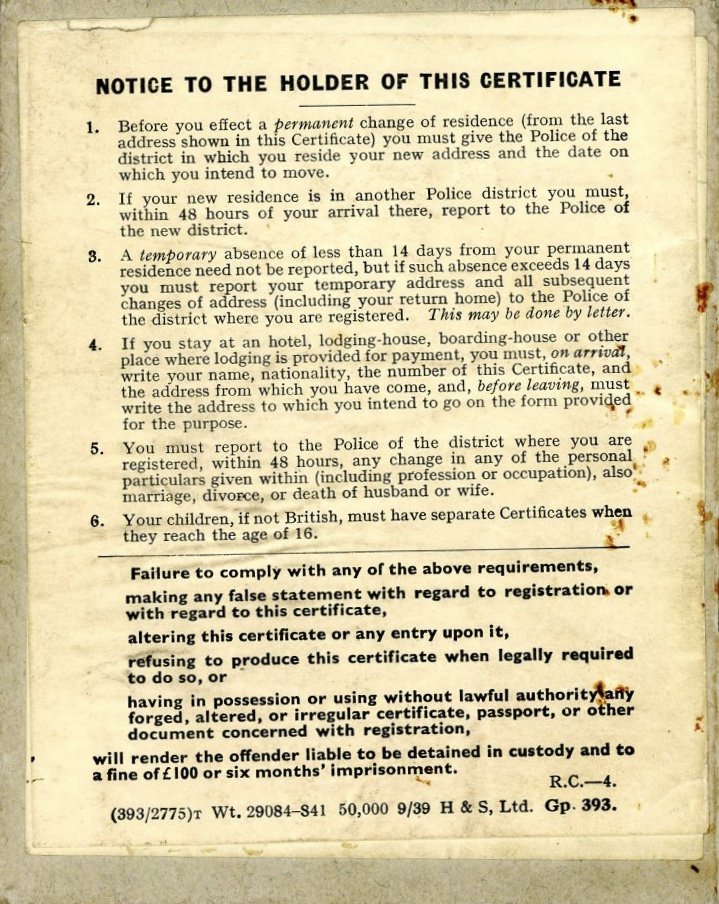 Werner Weissenberg Certificate of Enemy Alien registration, back page